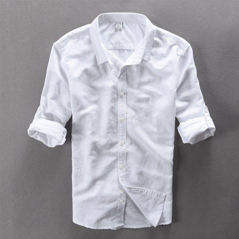 2017 uus moe vabaaja linane särk meestele valge tahke pikkade - Meeste riided - Foto 1