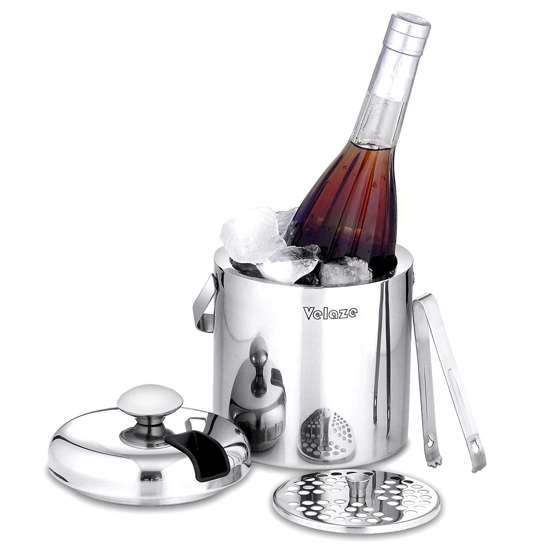 Seau à glace à vin en acier inoxydable Velaze 1.3L 304 bouteille isotherme à Double paroi pour bière et whisky avec couvercle, pinces, poignée de transport