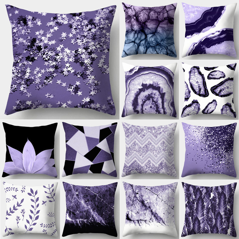 Purple Geometric Decorative Cushion Cover Pillow Pillowcase Polyester 45*45 Throw Pillows Home Decor Pillowcover 40846