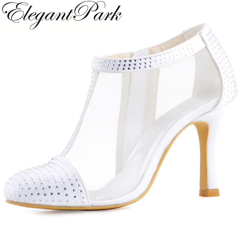Shoes Woman Ivory White Wedding Bridal High Heel Pumps Rhinestone Closed Toe Satin Lady bride Party Boots winter autumn HC1524 beautiful fashion blue wedding shoes for woman rhinestone bridal dress shoes lady high heel luxurious party prom shoes
