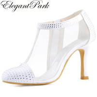 Shoes Woman Ivory White Wedding Bridal High Heel Pumps Rhinestone Closed Toe Satin Lady bride Party Boots winter autumn HC1524