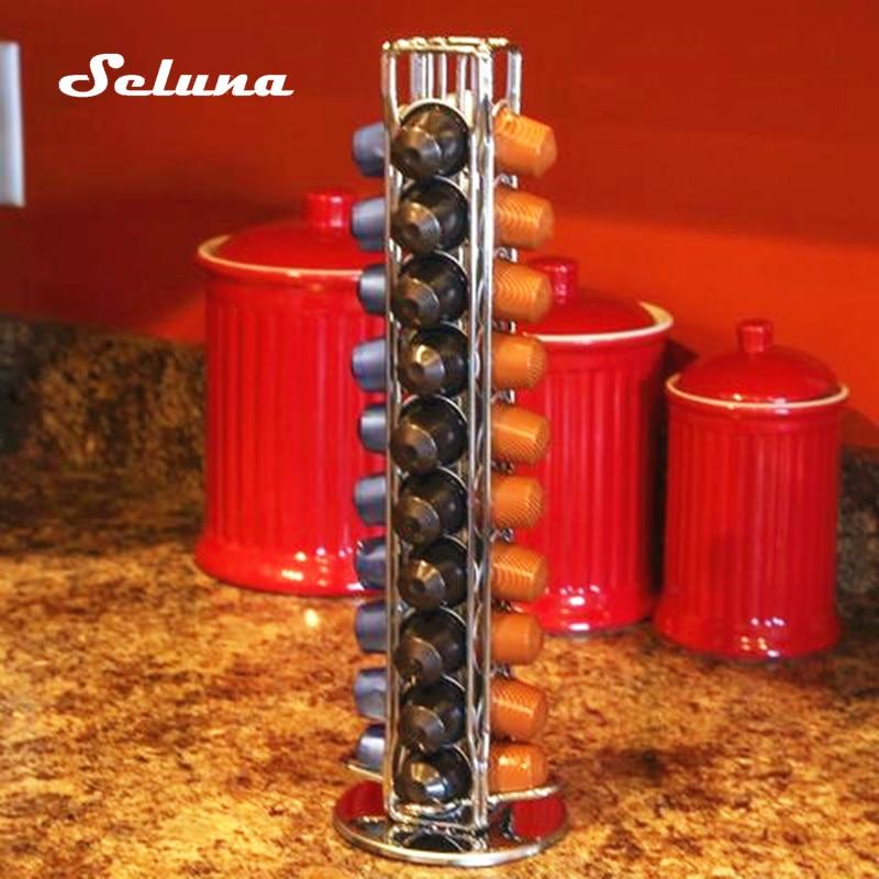 Seluna Nespresso Coffee Pod Holder Tower Coffee Capsule Stand Steel Storage Rack Iron Plating Coffee Shelves Rotary nespresso cups houder