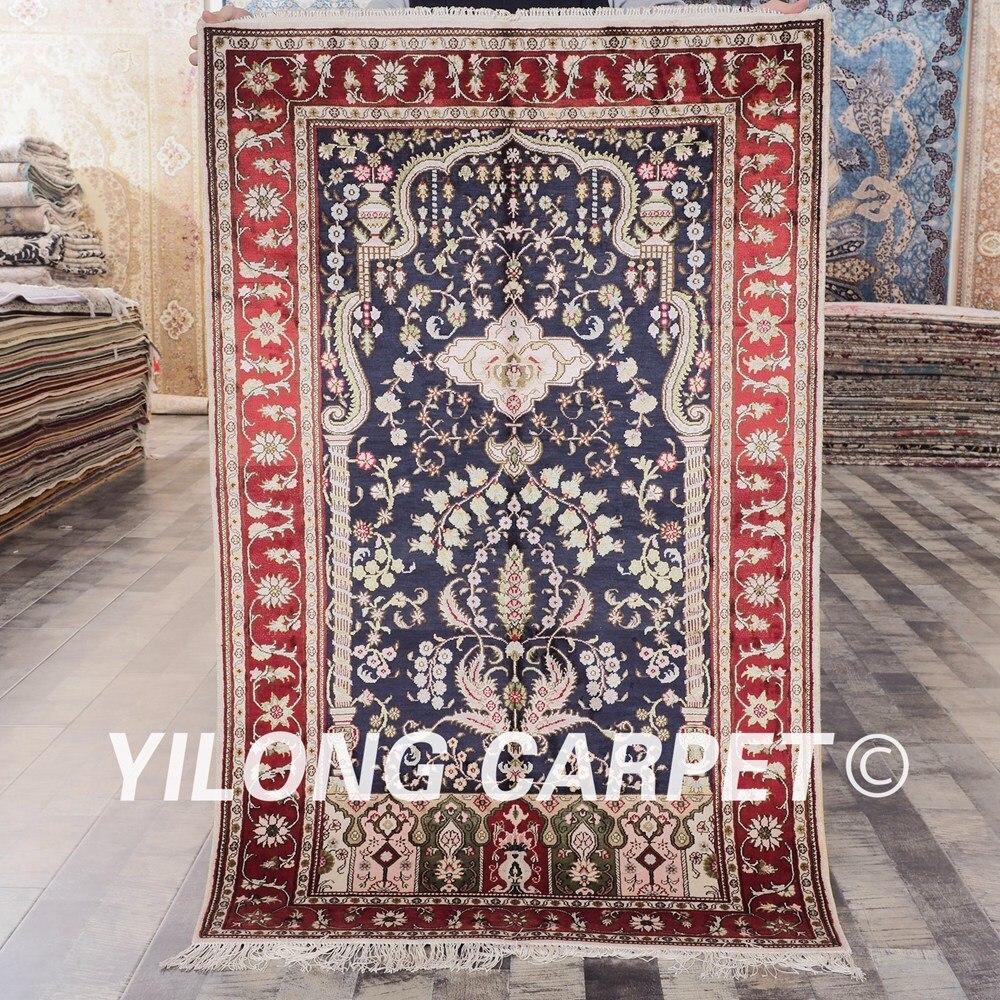 YILONG 3'x5 'tapis fait main persan noué à la main en soie bleu exquis antique tapis de sol (YHW322B3x5)