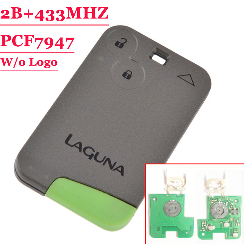 Free Shipping  (1pcs ) Excellent Quality Green Blade   2 Button Smart Card For Renault Laguna with pcf7947 Chip  433MHZ chip for ibm ip 1872n for lexmark x656 de for lexmark t 654 black smart chip free shipping