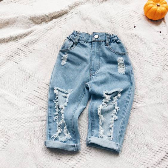 ea93b74a Boys girls holes fashion jeans kids casual ripped denim blue trousers baby all  match clothes children clothing 2-7 years old