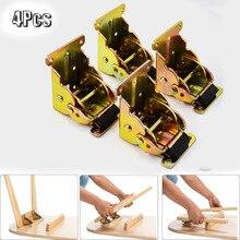 Support pliable, pour Extension de serrure noire, 4 pièces, pour Table, lit, pieds pour jambes, Support pliable