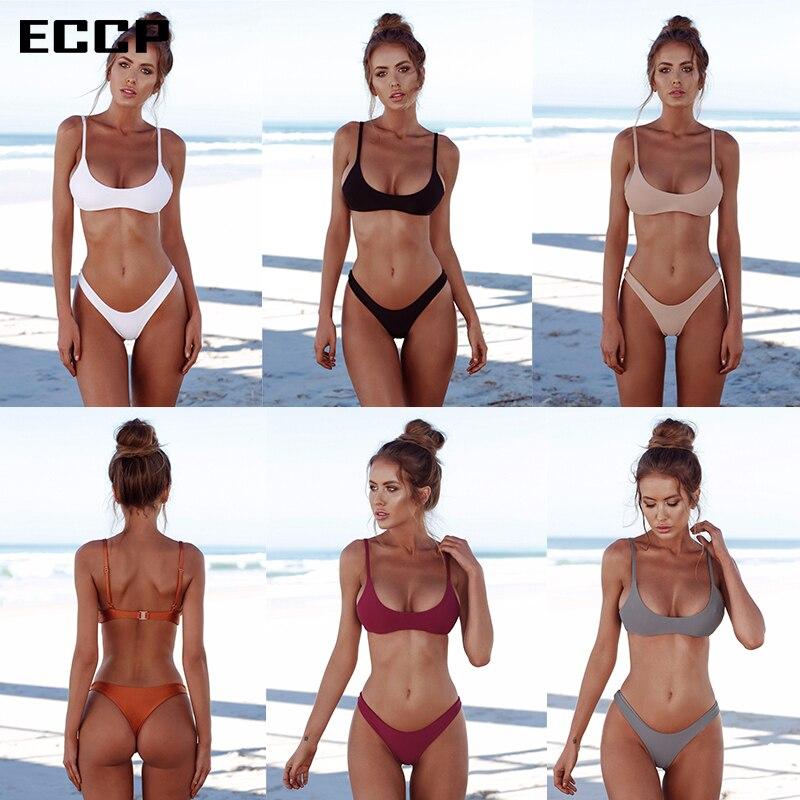 ECCP 2018 nuevos Bikinis sexis traje de baño para mujer ropa de playa de verano Push Up traje de baño Bikini femenino conjunto Halter Top bañador Swim XXL