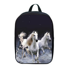 2017 Fashion Oxford 12 Inches Printing Animal Horse Kids School Bags for Baby Boys Small Backpacks for Children Schoolbag Girls(China)