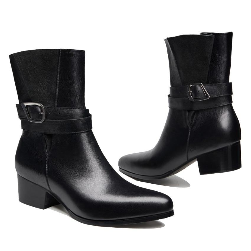 Strap Outdoor Heels Ankle Mönch Spitz Mann Cowboy Stiefel High Echtem Schuhe Italienische Leder Männer top Schwarzes Hqs279 Martin Handmade nRYqfPW