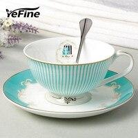 YeFine керамическая чайная чашка и блюдце набор дизайнерский костяного фарфора фарфоровая кофейная чашка послеобеденная черная чайная чашка ...
