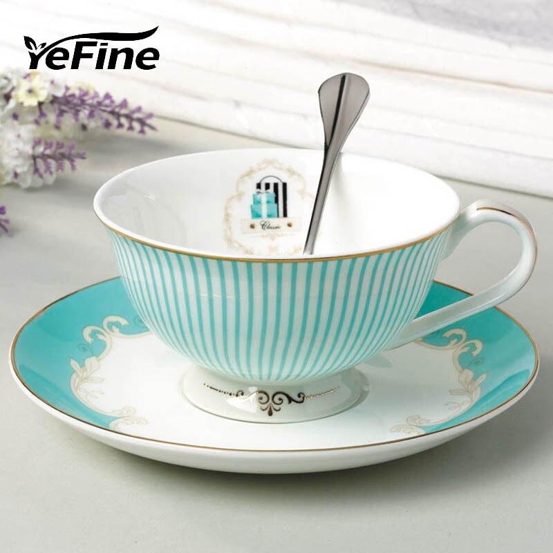 YeFine de Taza de té y platillo conjunto de hueso taza de café de China porcelana tarde negro Juego de tazas de té Coffeeware conjunto