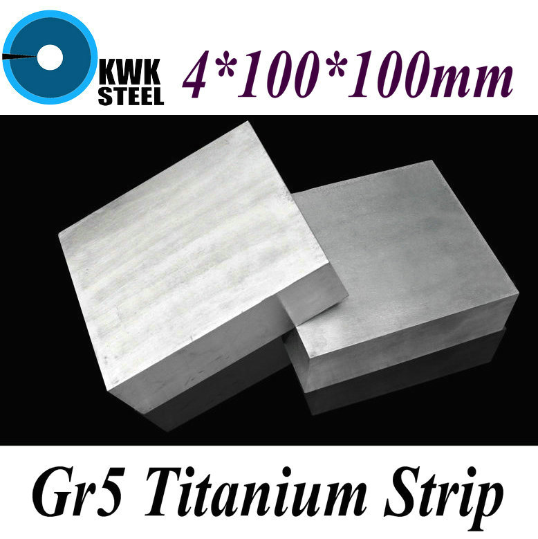 4*100*100mm Titanium Alloy Sheet UNS Gr5 TC4 BT6 TAP6400 Titanium Ti Plate Industry or DIY Material Free Shipping