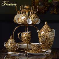 Ensemble de café en porcelaine à imprimé léopard ensemble de thé en porcelaine de luxe tasse de thé avancée tasse en céramique tasse à sucre crémier théière Drinkware