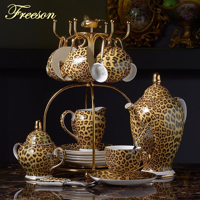 Luipaard Print Bone China Koffie Set Luxe Porselein Thee Set Geavanceerde Pot Cup Keramische Mok Suikerpot Creamer Theepot Drinkware