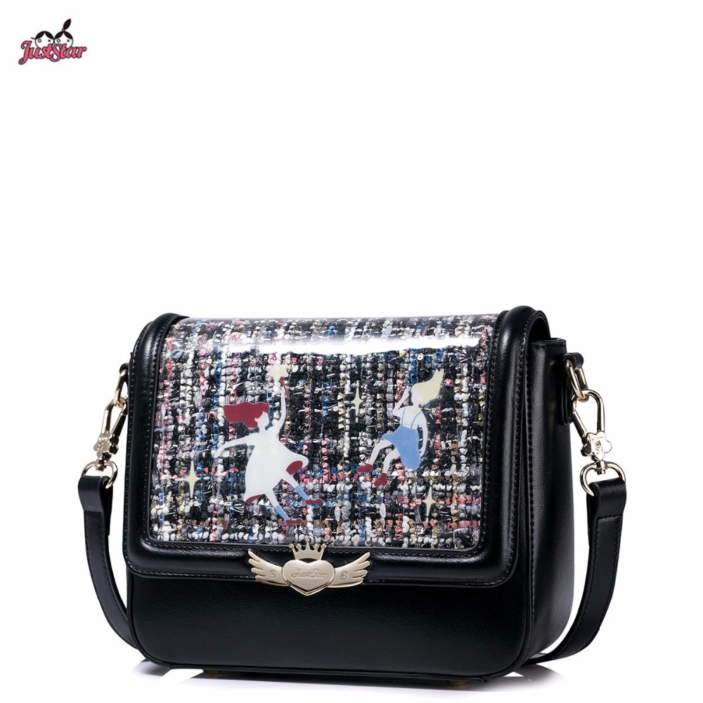 ФОТО Just Star Brand Design Fashion Tweed Woven PVC printing PU Women Leather Girls Ladies Shoulder Crossbody Flap Bag