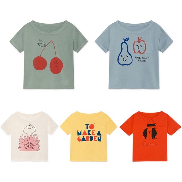 Bobo Choses 2019 Summer T-Shirt For Boy Cotton Tops Animal Print Short Sleeve Girls T Shirts Children Tees Children's T-Shirt