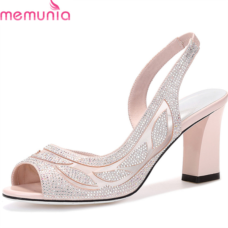 MEMUNIA 2018 new arrive women sandals elegant rhinestone lace summer shoes big size 33-40 comfortable square heels ladies shoes memunia 2018 new arrive women summer sandals sweet bowknot casual shoes simple buckle comfortable square heele shoes woman