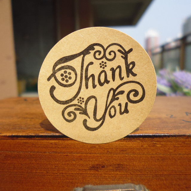 120pcs stamp design thank you words circle handmade cake packaging