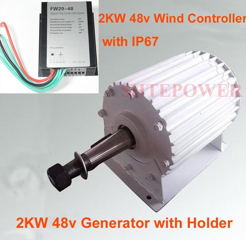 2000W 600r/m wind generator AC 48V 2KW wind turbines,48V AC wind charger controller with LED waterproof IP67 protection
