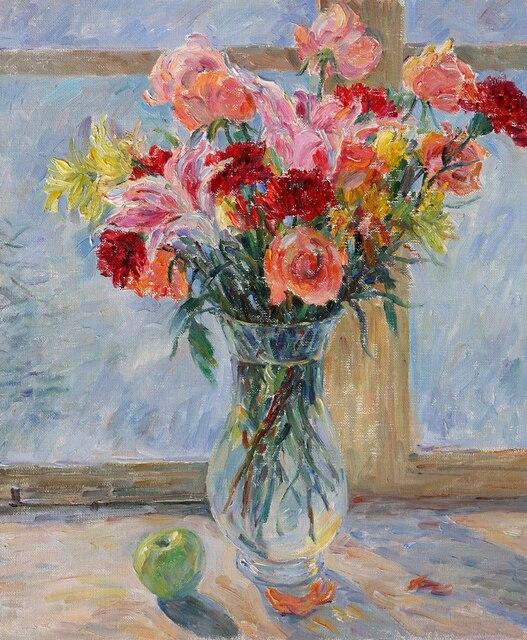 lgem lde bild hd drucken impressionismus stillleben blumen in vase auf leinwand l025 in. Black Bedroom Furniture Sets. Home Design Ideas