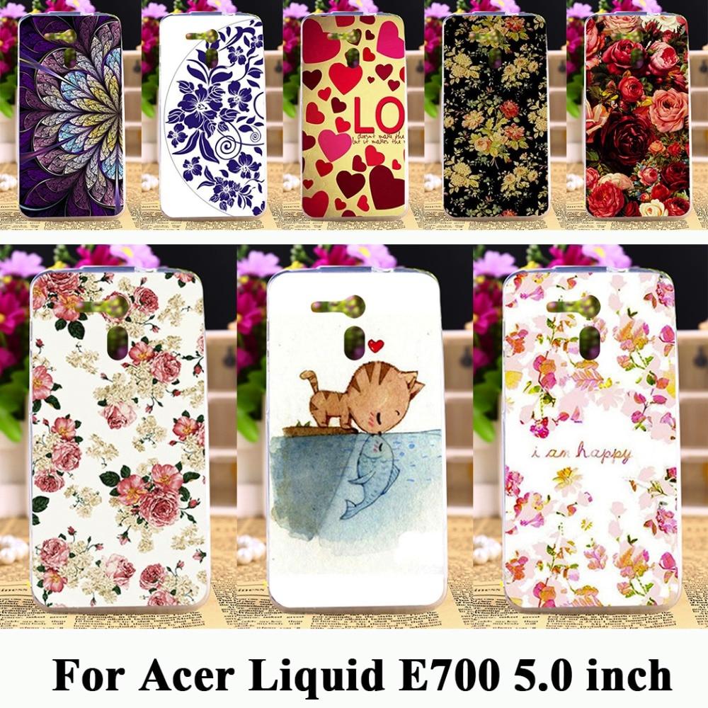 soft tpu Phone Cases for Acer Liquid E700 Zest Z525 Z528 Z330 Z320 M330 Z520 Z630 z500 Z530 Rose Peony Flowers Background Cover