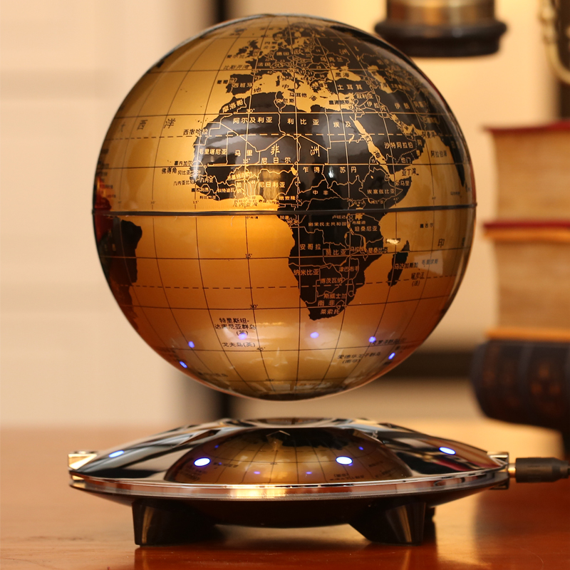 6 дюймов 8 высокая светящаяся вращения большой магнитной левитации глобусы ремесла стол украшения комнаты подарок на день рождения