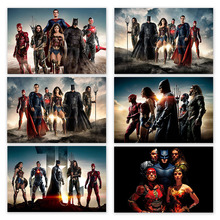 Justice League Super Hero Poster Batman Superman Silk Postres and Prints Wonder Woman Aquaman Wall Art for Bedroom Home Decor