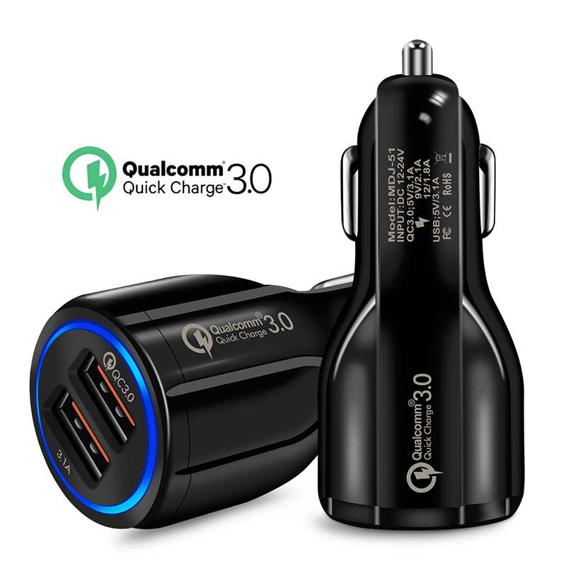 Oppselve <font><b>Quick</b></font> <font><b>Charge</b></font> <font><b>3.0</b></font> Dual USB <font><b>Car</b></font> <font><b>Charger</b></font> 5V3A Turbo Fast <font><b>Car</b></font> Charging Mobile Phone <font><b>Charger</b></font> For iPhone Xiaomi <font><b>Car</b></font> Adapter image