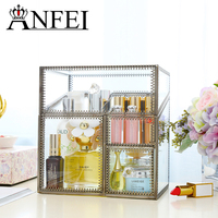 ANFEI New Design Bronze Materials Glasses Storage Drawer Clear Makeup Storage Box Large Cosmetic Organizer C218 33