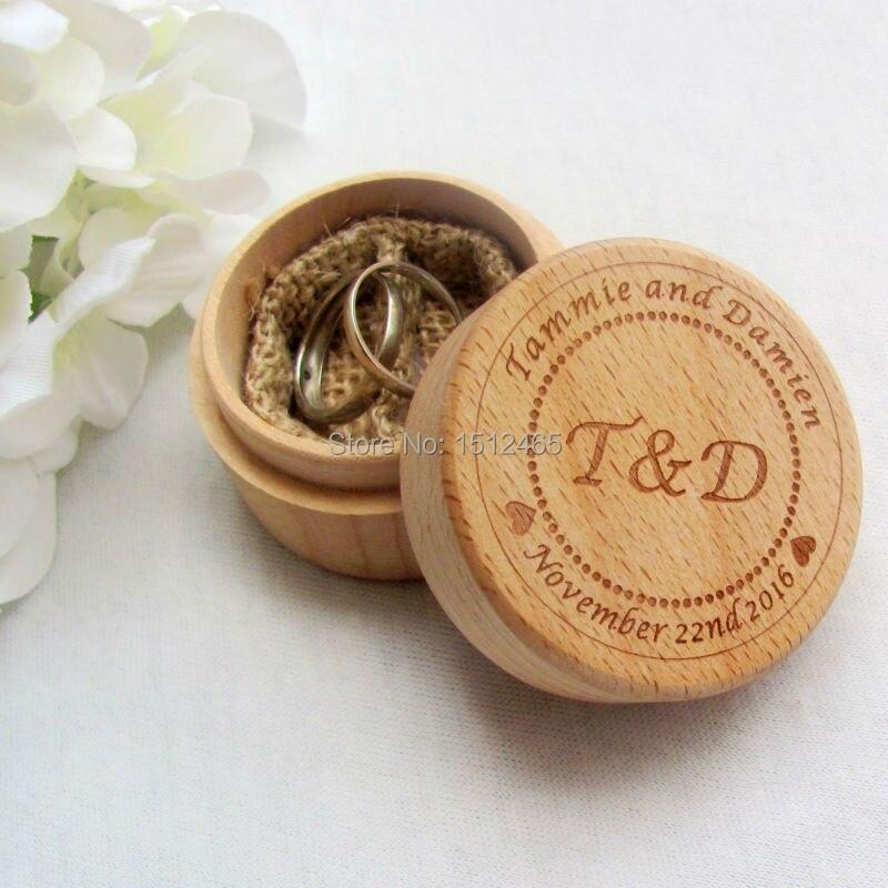 개인화 된 라운드 소박한 웨딩 나무 반지 상자 반지 무기명 결혼 반지 베개