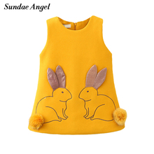 Sundae Angel Girl Dress Princess Sleeveless Cute Round Neck Rabbit Pattern Thicken Cotton for Kids Children's Girls Dresses 2-7Y