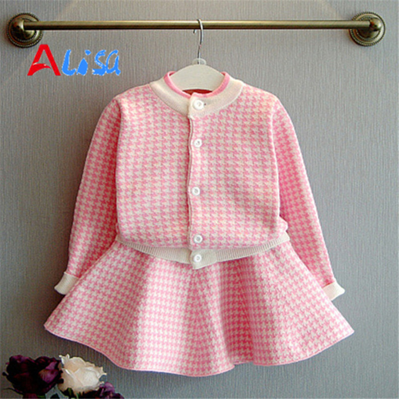 Autumn Girls Clothing Sets 2016 New Houndstooth Knitted Suits Long Sleeve Plaid Jackets Skits 2Pcs for