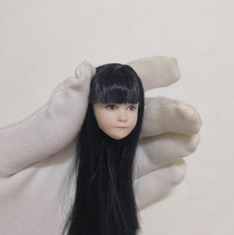 """Collectible 1/6 scale 사랑스러운 어린 소녀 머리 아시아 어린이 머리 조각 12 """"액션 피규어 바디 액세서리에 대 한 긴 머리 모델-에서액션 & 장난감 숫자부터 완구 & 취미 의  그룹 1"""