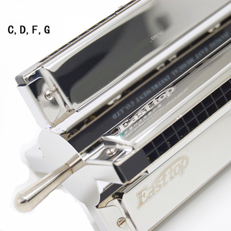 Easttop Wheel-shaped 24 Holes Harmonica C D F G Four Tones in one Senior Tremolo Harmonica Musical Instruments Metal Mouth Ogan 25 holes harmonica bass easttop t1 bass professional performance musical instruments metal mouth ogan orchestrs harmonica bass
