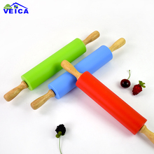 High Quality Wood Handle Silicone Fondant Rolling Pin Baking Rough Clay Pizza Pasta Roller Non Stick Cake Accessories