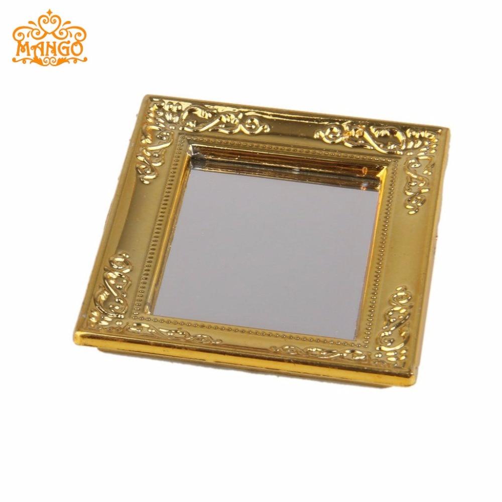 1:12 Miniaturno ogledalo Širina ogledala v okvirju za lutke 5,4 cm, - Igra igranja vlog - Fotografija 5