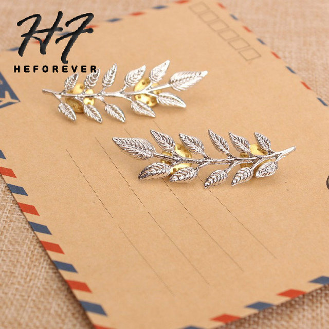 Simple Retro Gold/Silver Color Leave Style Shirt Collar Brooch for Women or Men Fashion Jewelry Accessories KB012 KB013