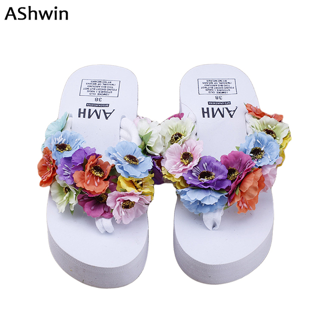 79d253715ad89b AShwin sweet flower sandals summer women shoes thong slippers colored wedge  platform sandal flip flops handmade holidays beach
