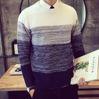 2016 New Autumn Fashion Brand Casual Sweater O Neck Striped Slim Fit Knitting Mens Sweaters And Pullovers Men Pullover Men 5XL