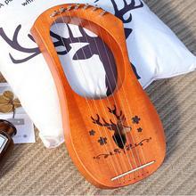 7 Strings Harp Lyre Strings Instrument Reindeer Pattern Mahogany Wood 7 Tone C Key Stringed Instruments for Music Lovers Gift