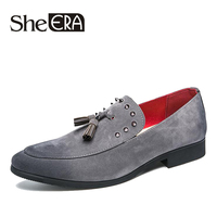 2019 New ArrivalSheERA Men Loafers Personality Tassel Black Gray Dress Shoes Men Casual PU shoes Nightclub Christmas Party Shoes