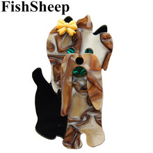 FishSheep New Dog Brooches Pins Resin Animal Acrylic Brooch And Pins For Women Man Banquet Decoration Dress Female Accessories