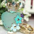 FREE SHIPPING New Arrival Resin Crown Perfume Bottle Car Keychain Keyring Women Female Novelty Gifts Wholesale and Retail