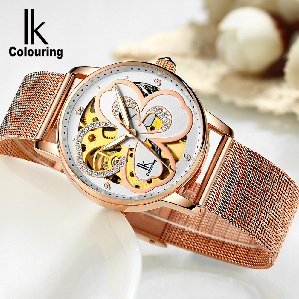 IK Colouring Women Automatic Mechanical Watch Luxury Rose Gold Dress Clock Lady Relojes Mujer Girl Skeleton Wristwatches MontreIK Colouring Women Automatic Mechanical Watch Luxury Rose Gold Dress Clock Lady Relojes Mujer Girl Skeleton Wristwatches Montre