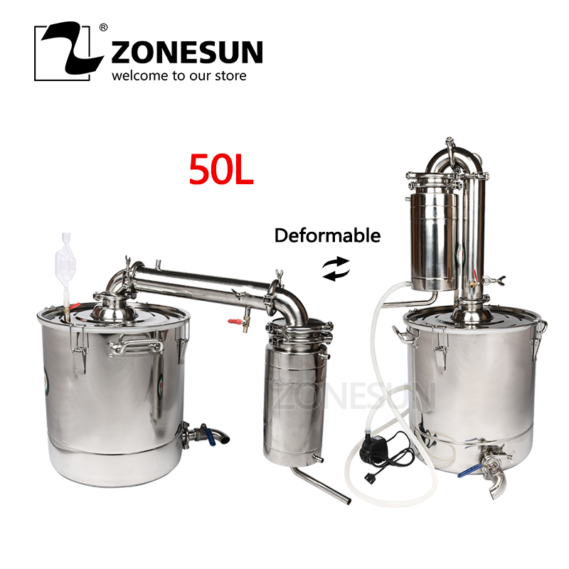 ZONESUN Houshold Stainless Steel Home Wine Brewing Device 45L Alcohol Distiller Wine Maker English Manual+11 GiftsZONESUN Houshold Stainless Steel Home Wine Brewing Device 45L Alcohol Distiller Wine Maker English Manual+11 Gifts