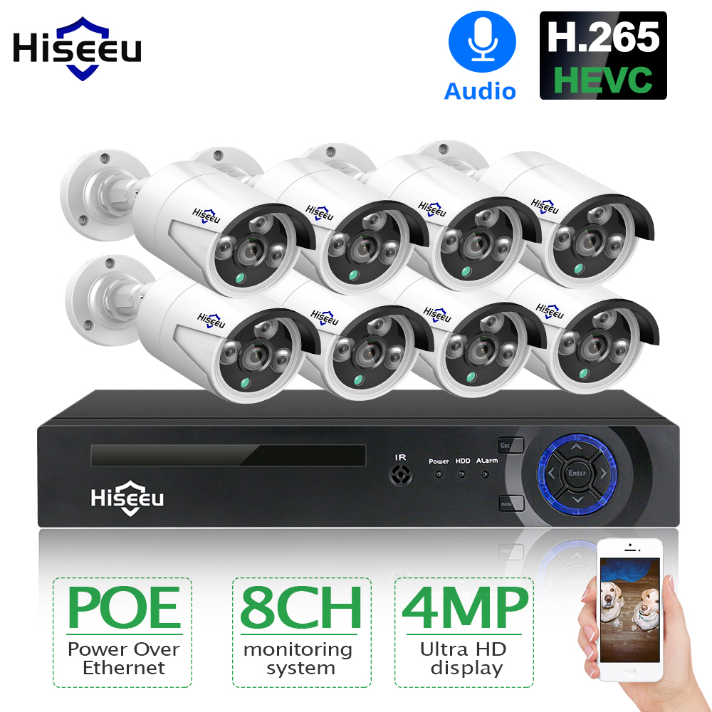 Hiseeu H.265 8CH 4MP POE Security Camera System Kit Audio Record IP Camera IR Outdoor Waterproof CCTV Video Surveillance NVR Set universal oil filter wrench