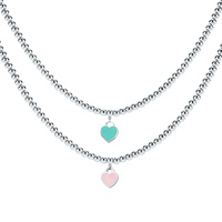 Heart Shaped Necklace For Women Blue Pink Pendant High Quality Stainless Steel Brand Tiff Design Elegant