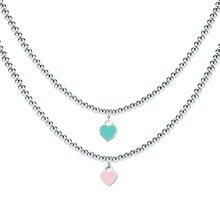 Corazón en forma de collar para las mujeres azul y rosa colgante marca de alta calidad en acero inoxidable TIFF diseño elegante bodas joyería regalos