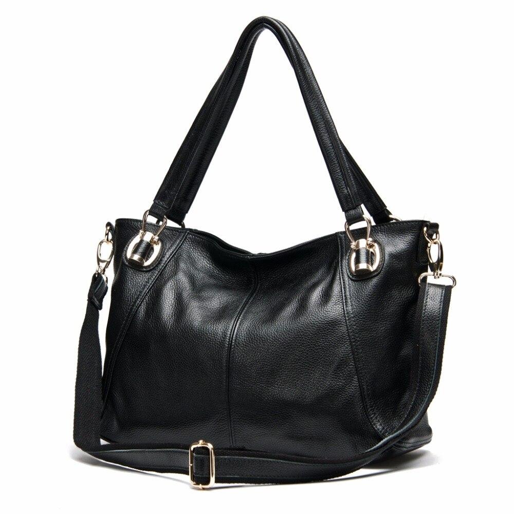 AODUX Fast Shipping 100% Genuine Cow Leather Women Shoulder Bags Handbag Messenger Crossbody Female Cowhide Bag White Color