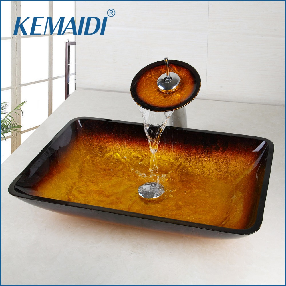 KEMAIDI New Gold Bathroom Sink Washbasin Bath Set Faucet Mixer Taps Tempered Glass Hand Painted Waterfall Spout Basin Tap kemaidi new arrival bathroom waterfall washbasin lavatory tempered glass basin sink combine vessel vanity tap mixer faucet